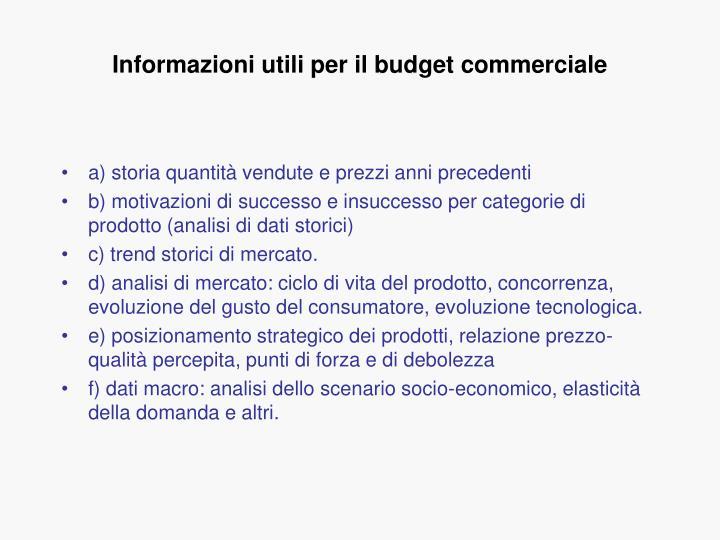 Informazioni utili per il budget commerciale