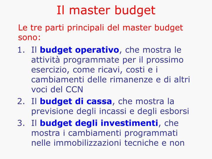 Il master budget
