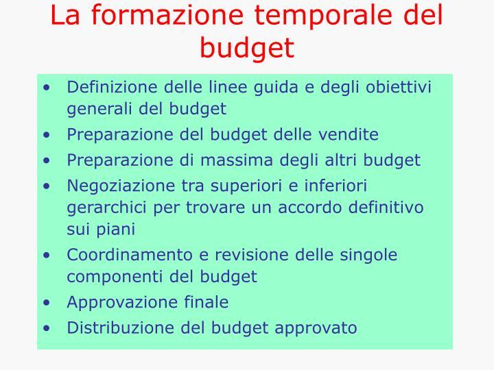 La formazione temporale del budget
