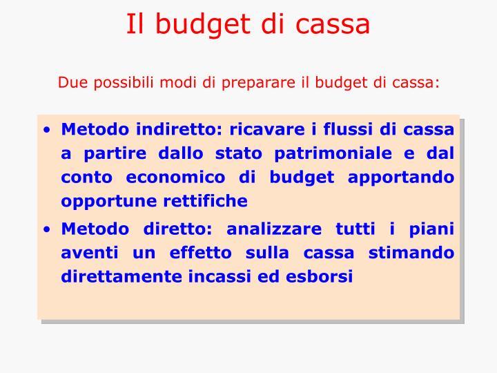 Il budget di cassa