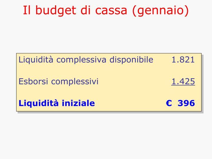 Il budget di cassa (gennaio)