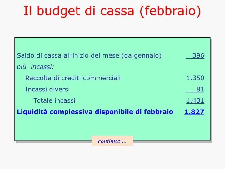 Il budget di cassa (febbraio)