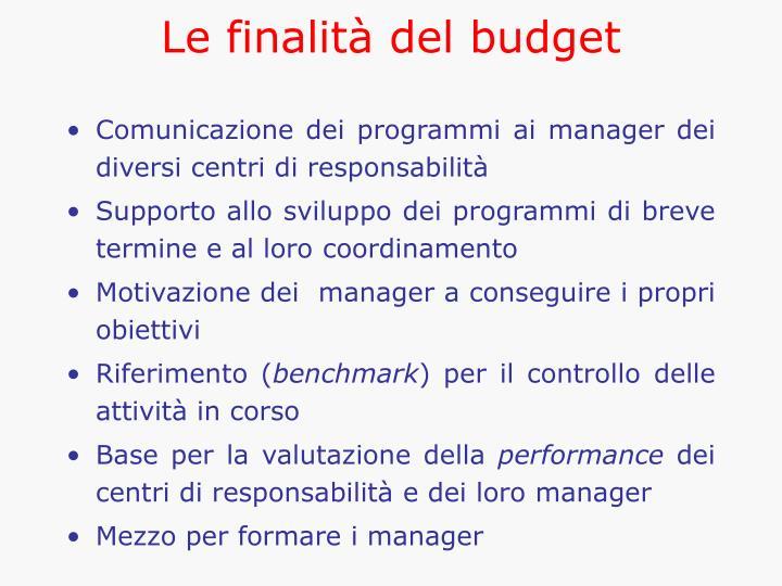 Le finalità del budget
