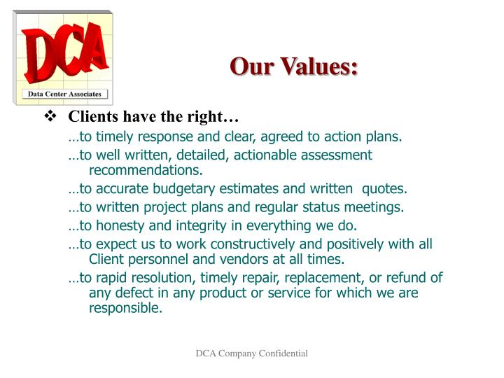 Our Values: