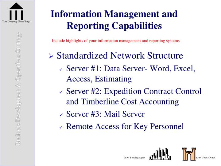 Information Management and Reporting Capabilities