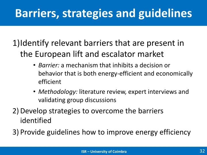 Barriers, strategies and guidelines
