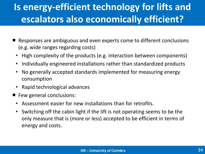 Is energy-efficient technology for lifts and escalators also economically efficient?