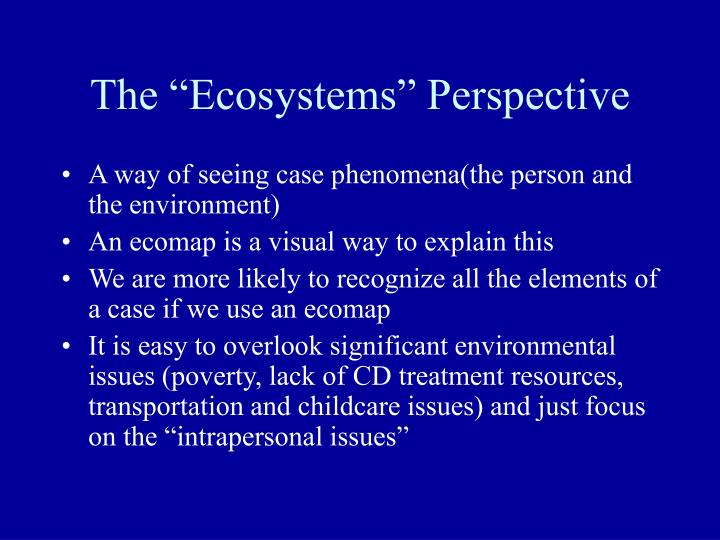 "The ""Ecosystems"" Perspective"