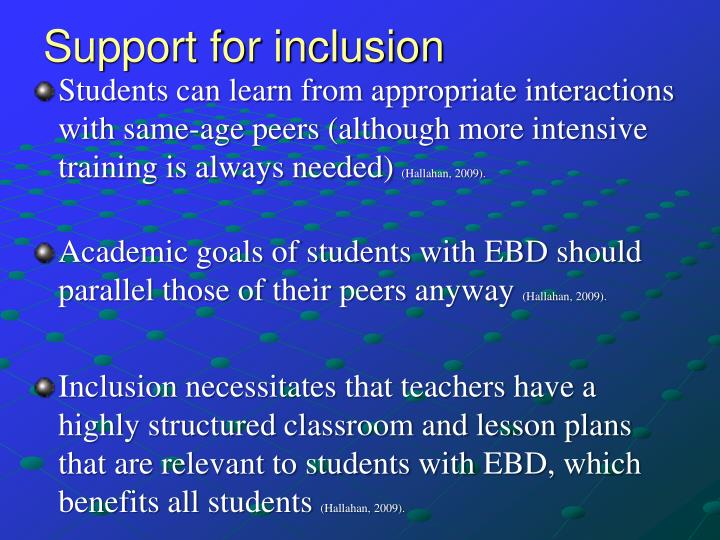 Support for inclusion