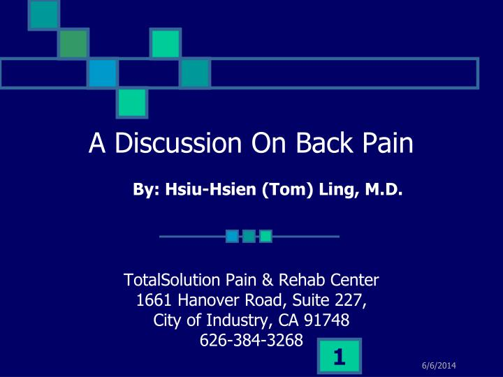 A Discussion On Back Pain