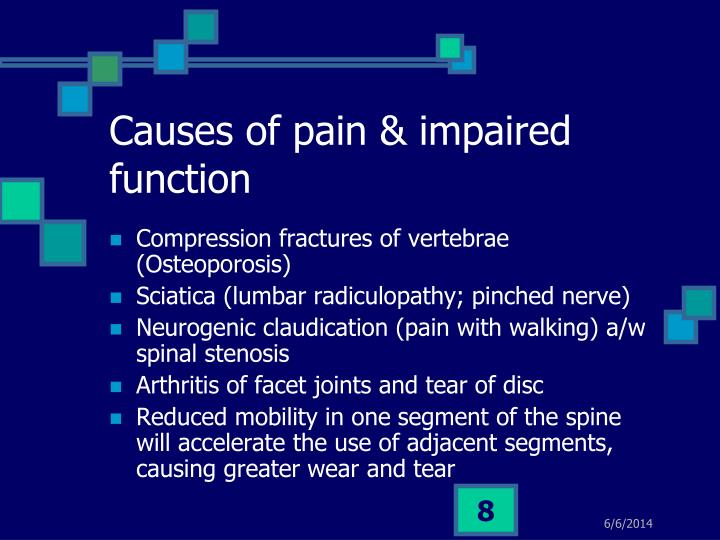 Causes of pain & impaired function