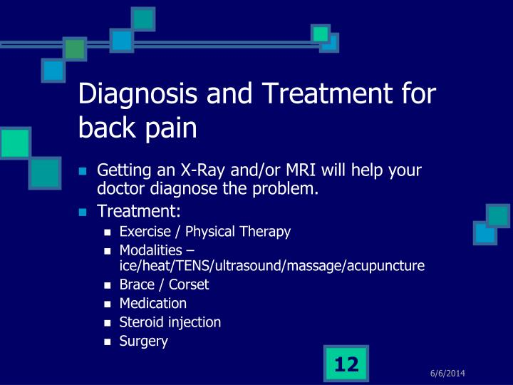 Diagnosis and Treatment for back pain