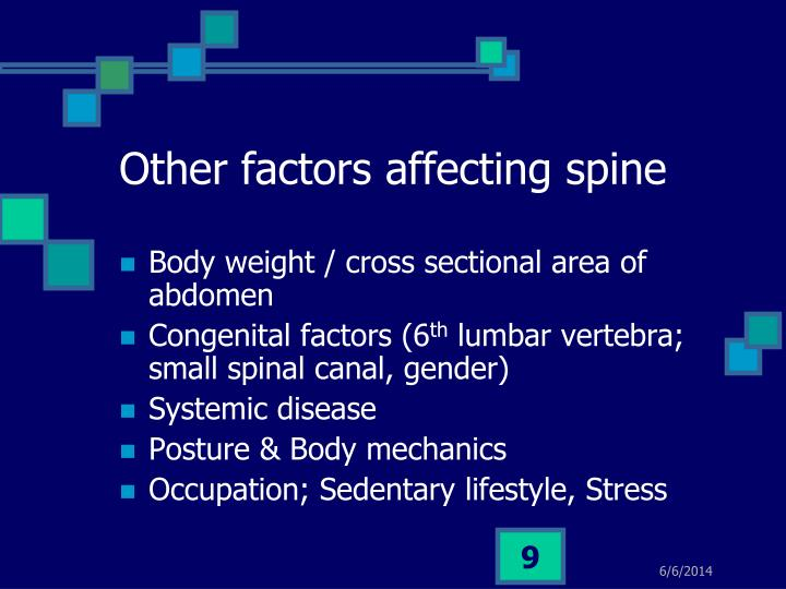 Other factors affecting spine