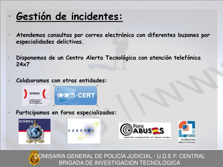 Gestión de incidentes: