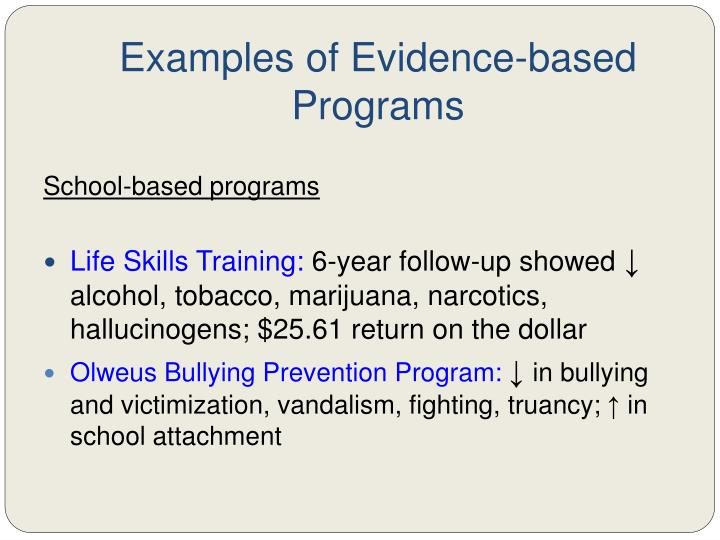 Examples of Evidence-based