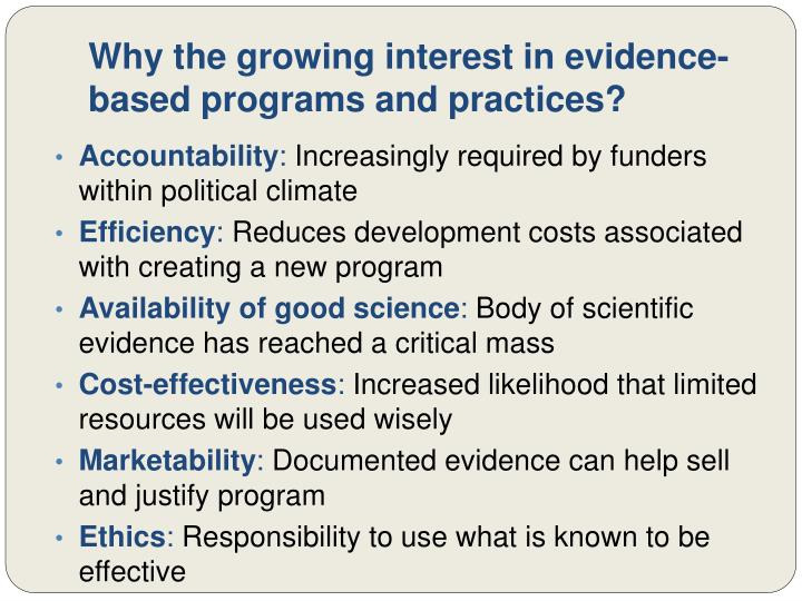 Why the growing interest in evidence-based programs and practices?