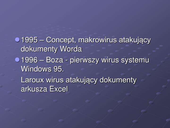1995 – Concept, makrowirus atakujący dokumenty Worda