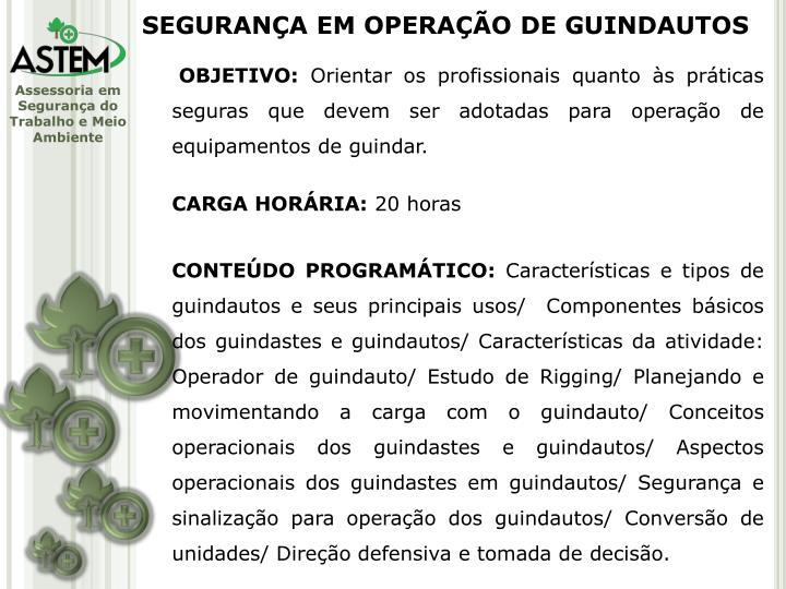SEGURANÇA EM OPERAÇÃO DE GUINDAUTOS