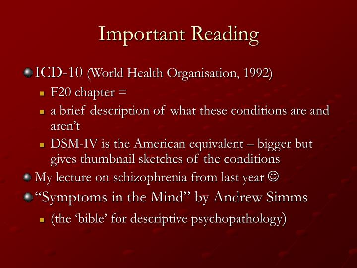 Important Reading