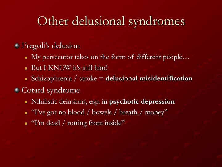 Other delusional syndromes