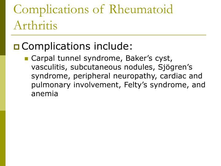 Complications of Rheumatoid Arthritis