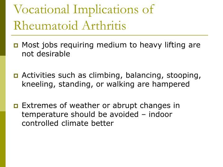 Vocational Implications of Rheumatoid Arthritis