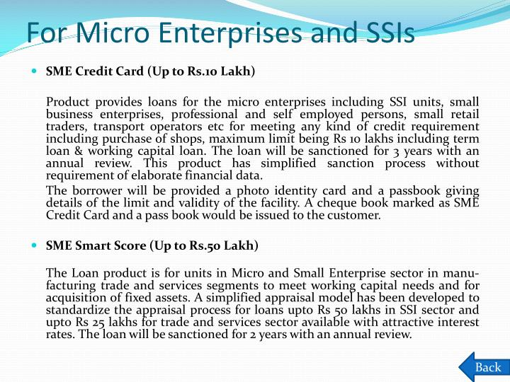For Micro Enterprises and SSIs