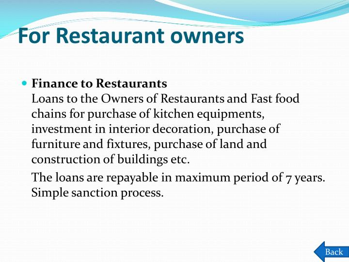 For Restaurant owners