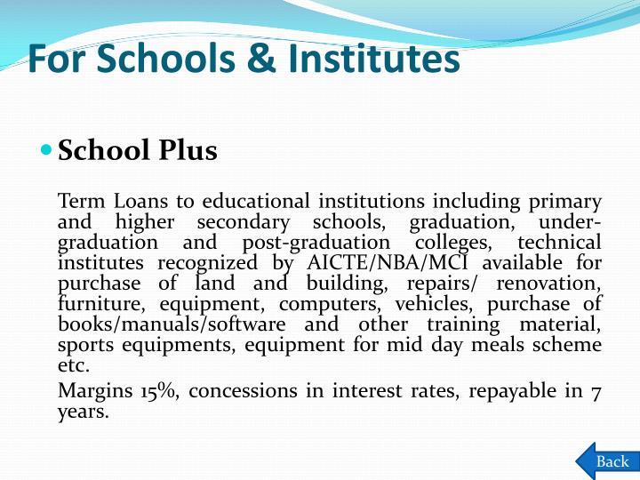 For Schools & Institutes