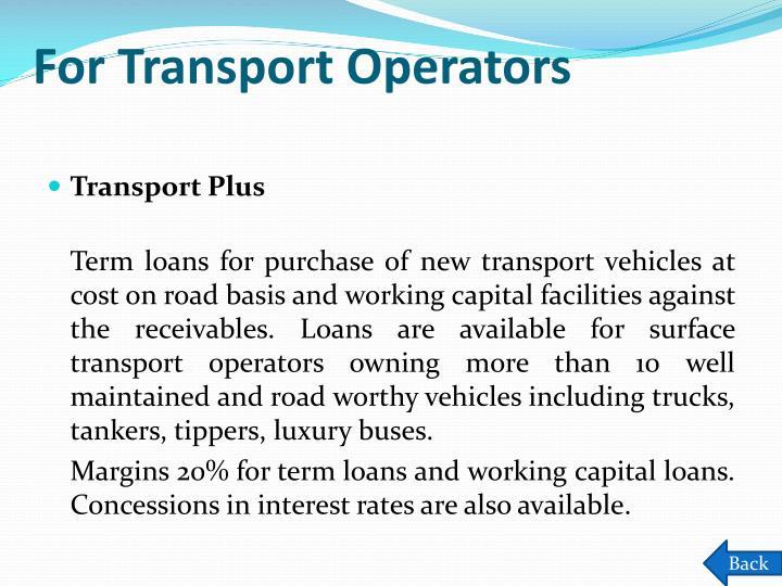 For Transport Operators