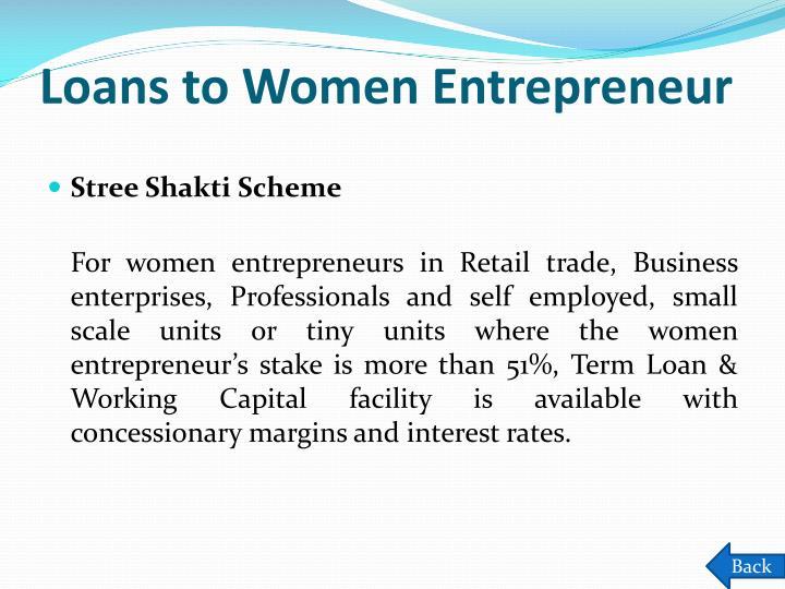 Loans to Women Entrepreneur