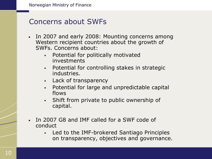 Concerns about SWFs