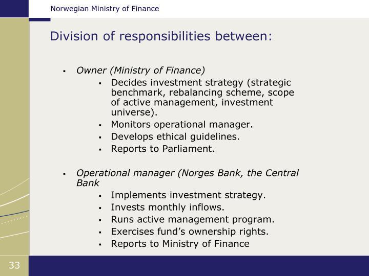 Division of responsibilities between: