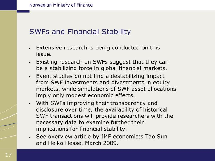 SWFs and Financial Stability