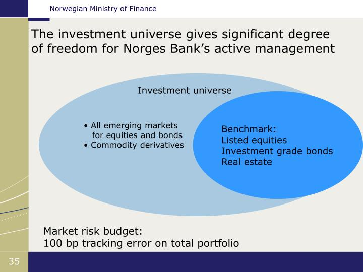 The investment universe gives significant degree of freedom for Norges Bank's active management
