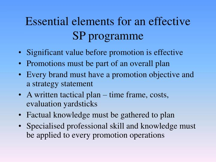 Essential elements for an effective SP programme