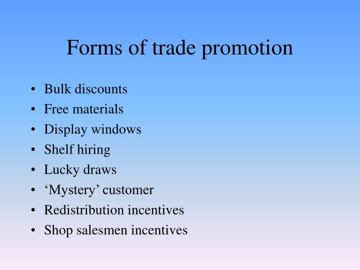 Forms of trade promotion