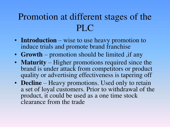Promotion at different stages of the PLC