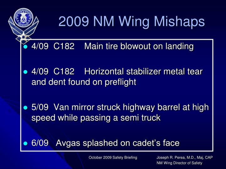 2009 NM Wing Mishaps