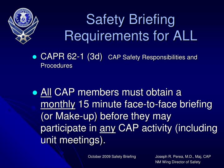 Safety Briefing Requirements for ALL