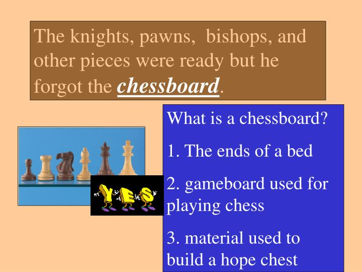 The knights, pawns,  bishops, and other pieces were ready but he forgot the