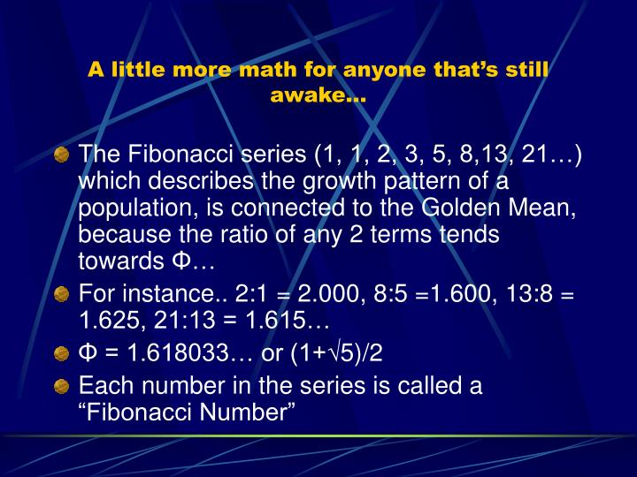 A little more math for anyone that's still awake…
