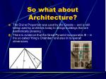 so what about architecture