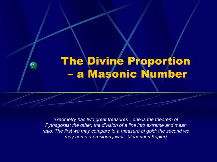 The divine proportion a masonic number