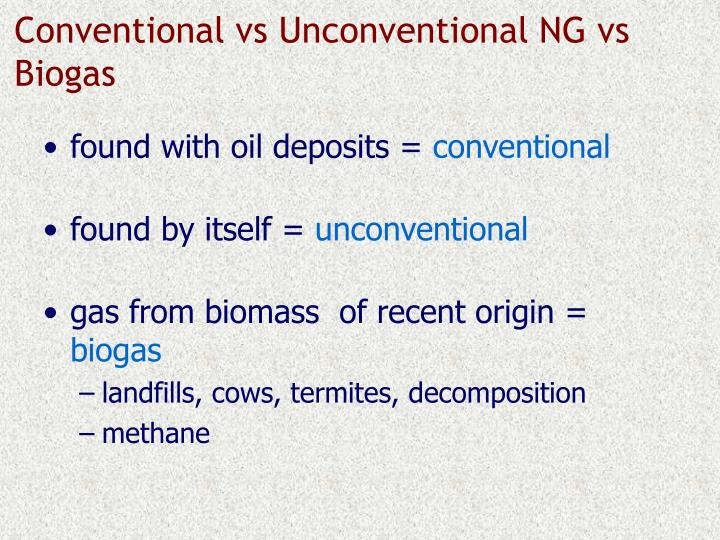 Conventional vs Unconventional NG vs Biogas