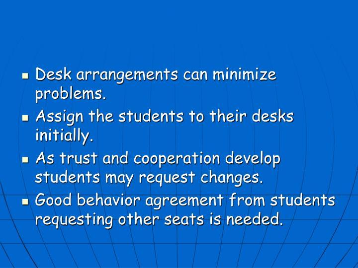 Desk arrangements can minimize problems.