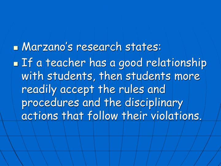 Marzano's research states: