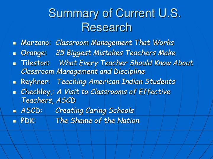 Summary of Current U.S.      Research