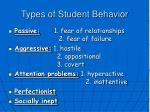 types of student behavior