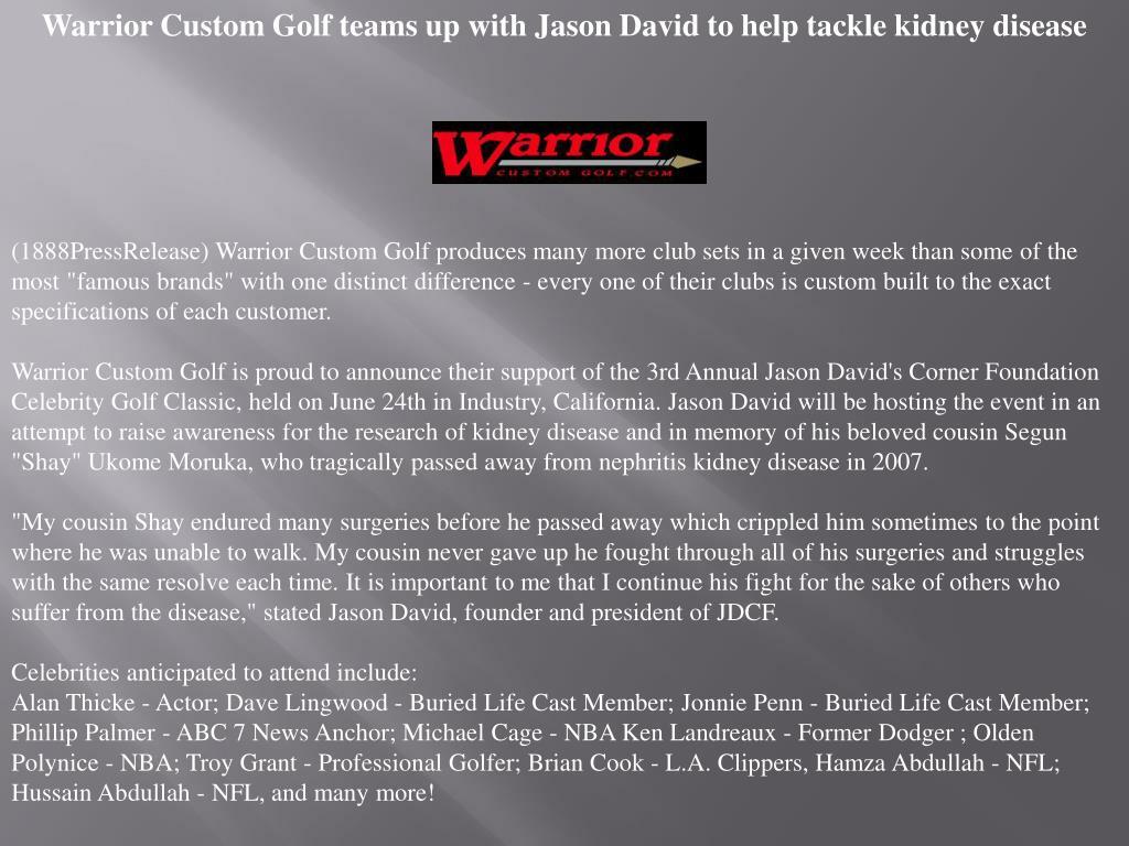 Warrior Custom Golf teams up with Jason David to help tackle kidney disease